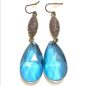 Blue purple dangle earrings statement